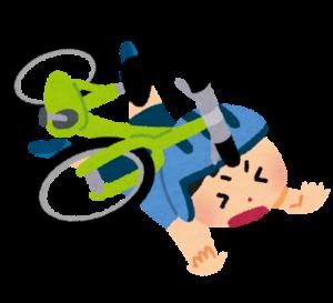 転ぶ自転車のイラスト